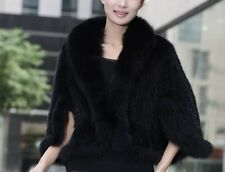 Real natural knitted mink fur shawl cape with fox fur collar women's coat jacket
