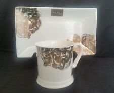 Nicole Miller Large Serving Platter Plate Metallic Floral Silver Gold Print NWT
