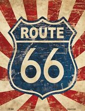 SUPERBE PLAQUE DECORATIVE VINTAGE ROUTE 66 - DECORATION USA & BIKER