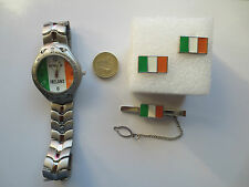 Round Rugby Football Ireland flag Wrist Watch Tie Pin and Cufflinks set gift #3