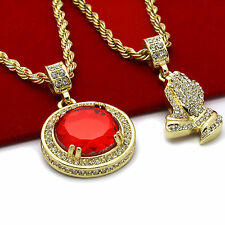 "Men's Gold Plated High Fashion 2 pcs set Ruby & prayer 4mm 30"" & 24"" Rope chain"