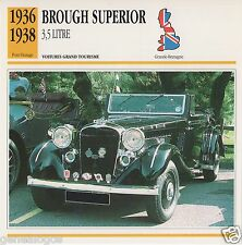 FICHE AUTOMOBILE GLACEE GB CAR BROUGH SUPERIOR 3.5 LITRE 1936-1938