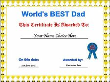 Novelty Personalised Father's Day Certificate Edible Wafer Paper Cake Topper dad