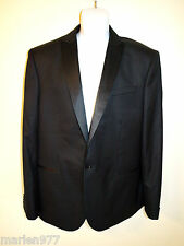 EXPRESS PHOTOGRAPHER Fitted Black Wool Blend Textured Tuxedo Jacket 44R