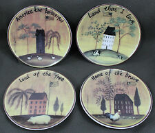 America the Beautiful 4 Decorative Plates Patrioitc Farm Scene SamSeo's Design