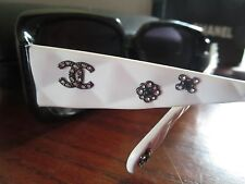 Chanel sunglasses white quilted rhinestone