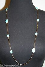 KATE SPADE LONG PAVE THE WAY TURQUOISE/GOLD SCATTER LONG NECKLACE WBRUA468