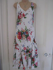 Beautiful size 8R Per Una white cotton lined dress with colourful floral pattern