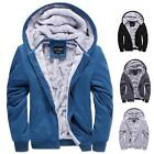 Stylish Mens Fur Lined Hoodie Hooded Hoodies Jacket Zipper Top Winter Warmer XD