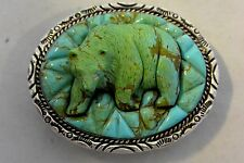 NAVAJO Carved Turquoise GRIZZLY BEAR!  BELT BUCKLE Sterling Silver! Excellent.
