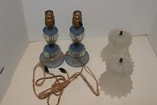 VINTAGE PAIR CLEAR GLASS TABLE LAMPS