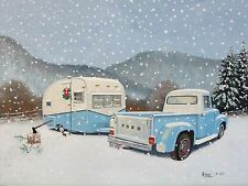 Vintage Canned Ham Travel Trailer Camper FORD Truck CHRISTMAS RV NOTE CARDS