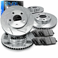 Front and Rear eLine Slotted Brake Disc Rotors & Ceramic Brake Pad Civic,Integra