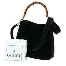 GUCCI Bamboo Shoulder Hand Bag Black Suede Leather Italy Vintage Auth #8880 W