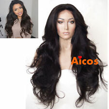 """24"""" Wavy Glueless Black Synthetic Lace Front Wig Full Wigs Heat Resist +wig cap"""