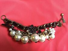 Betsey Johnson Vintage Pearl Cluster Polka Dot Black White Flower Bow Bracelet