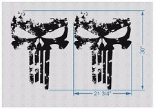 """pair 30"""" PUNISHER skull Distressed hood side vinyl decal sticker for car track"""