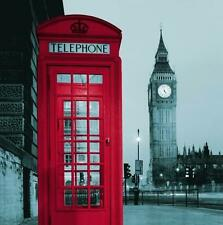 London Scene Red Phone Box Big Ben Shower Curtain 180cm X 180cm Polyester Hooks