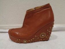 CALLEEN CORDERO brown Ankle boot zip wedge jewels stud SZ 7