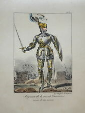 LITHO COULEUR PORTRAIT COSTUME HOMME CHEVALIER CHARLES VII ARMURE MOYEN AGE 1820
