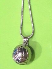 "Sterling Silver 3D Volleyball Pendant Charm Necklace 18in w 2"" extender"