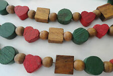 """Primitive 111"""" Christmas Garland Stained Wood Beads Hearts Squares Vintage EUC"""
