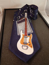 """Renaissance Guitar & Amp Themed Tie Musician Notes Themed Handmade Poly 4"""" wide"""