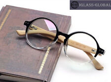 48mm Retro/Vintage Eyeglass Frames Eyewear Round Black+transparent Bamboo temple