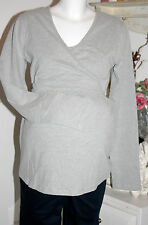 Bellybutton   Wickel-Shirt Langarm Hallie Cotton  Grey Melange  size: XL  Neu