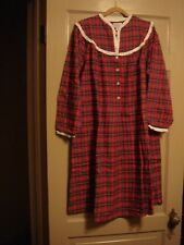 LANZ OF SALZBURG FLANNEL RED PLAID NIGHTGOWN WOMENS MEDIUM NEW WITH TAGS $64 RTL