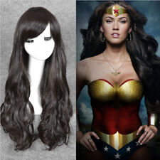 Wonder Woman Diana cosplay wig fashion long natural black wavy hair full wigs K5