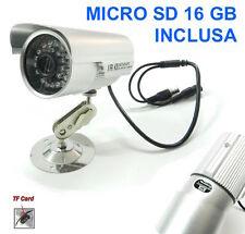 TELECAMERA VIDEOSORVEGLIANZA CON REGISTRAZIONE SU MICRO SD A LED INFRAROSSI + SD