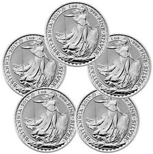 2017 Great Britain 2 Pound 1 oz. Silver Britannia - Lot of 5 SKU43885