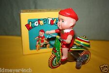 VINTAGE WIND-UP RINGING TRICYCLE TIN TOY MIB MADE IN CHINA 1970
