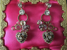 Betsey Johnson Vintage SPARKLY Heart Crystal Bezel Gold Rose Gray Earrings RARE