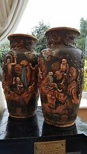 PAIR OF LARGE ANTIQUE JAPANESE SATSUMA EARTHENWARE SCENE VASES, IN HIGH RELIEF