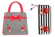 Banned 50s Rockabilly Stripe Anchor Hello Sailor Bow Purse Handbag & Wallet Set