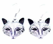 Vintage retro style antique silver coloured fox dangle earrings