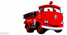 "4"" DISNEY CARS  RED FIRE TRUCK CHARACTER FABRIC APPLIQUE IRON ON"