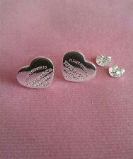925 sterling silver plated heart earrings earstud friend birthday gift