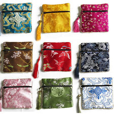 10pcs Mix Colors Chinese Zipper Coin Tassel Silk Square Jewelry Bags PouchesCA19