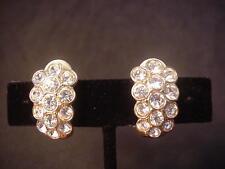 SWAROVSKI Crystal CLIP ON Earrings NICE BLING Swan Mark DESIGNER