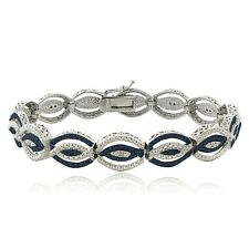 1/4 Ct Blue & White Diamond Intertwining Infinity Bracelet (I-J, I3)