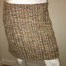 Moschino Made In Italy Aeffe Spa Wool Tweed Pencil Straight Skirt Size 10 US
