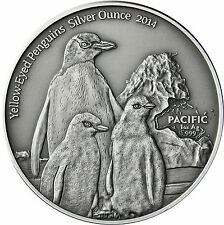 Pazifik Serie: Tokelau 5 Dollars 2014 Antique Finish, Gelbaugenpinguin - Hoiho