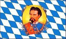 Bayern König Ludwig mit Bild Bayrische Flagge Fahne 1,50x0,90 Oktoberfest Rauten