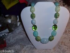 Gorgeous JOAN RIVERS Chunky Lucite Marbled/Clear Multi-Blue & Green Necklace NEW