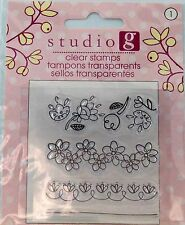 NEW STUDIO G CLEAR STAMP FLOWER BORDERS SPRING VC0045 189
