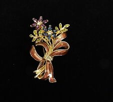 VINTAGE ENAMEL & COLORED RHINESTONE FLOWER & RIBBON BOUQUET PIN SIGNED MONET