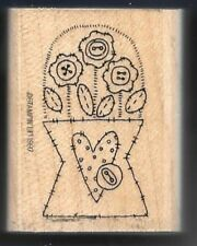 FLOWER BOUQUET VASE Patchwork Floral Buttons Occasion Stampin' Up! RUBBER STAMP